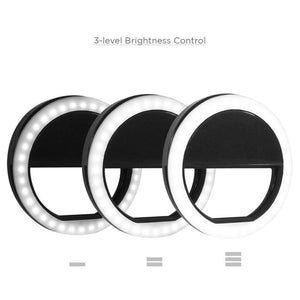 [2 PCS] Ring Light for Camera Selfie LED Camera Light, 36 LED Light Chips, for iPhone iPad Samsung Galaxy Photography Phones, Black, Photo Studio, AGG1185V2