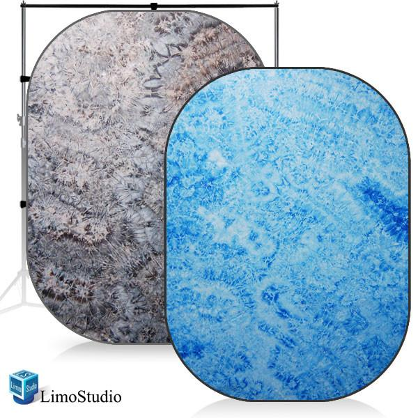 Photography Studio Disc Backdrop Reversible Pop Out Background Panel, East Sea Blue / Night Mist Gray, AGG1188