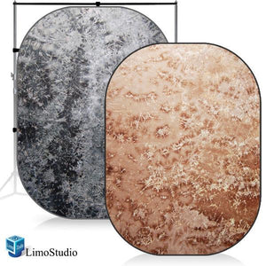 Photography Studio Disc Backdrop Reversible Pop Out Background Panel, Tied Dye Blue Grey / Tied Dye Brown, AGG1189