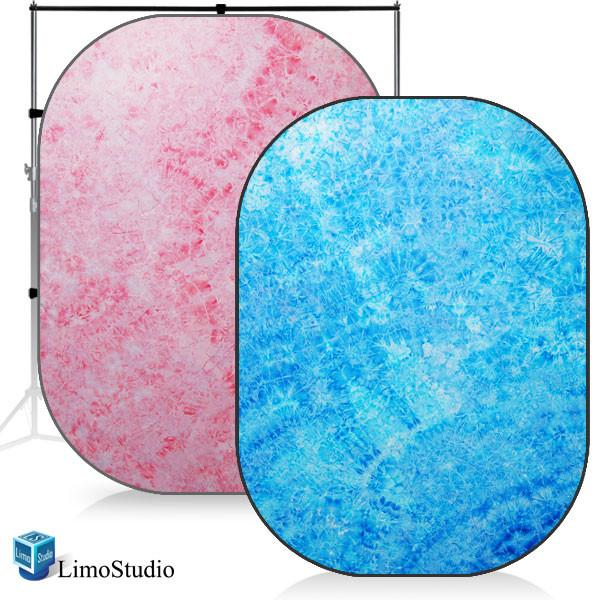 Photography Studio Chromakey Disc Backdrop Reversible Pop Out Background Panel, Tied Dye skyblue / Tied Dye Pink, AGG1190