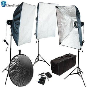 Photo Studio Flash Strobe Light Soft Boxes 3 & 5 in One Photo Refletors with 3 of 180Watt Flash Lights total 540Watt Kit, AGG1203