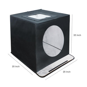 "25"" Cube Box Black LED Lighting Table Top Photo Shooting Tent for Commercial Product Photo Shoot, 4 Color Background, LED Panel, Easy Install with Velcro, Photography Studio, AGG1209V2"