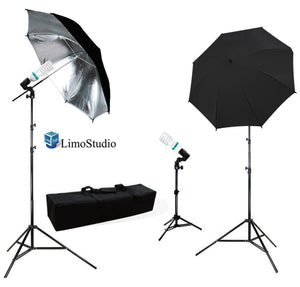 Photography Photo Portrait Studio 600W Triple Continuous Umbrella Lighting Kit - 2x Black / Silver Umbrella Lighting, 1x Table Top Mini Lighting Kit, AGG1211