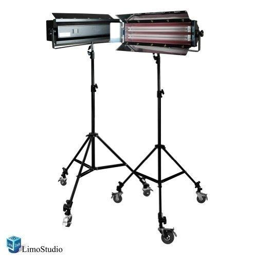 Photography Photo Video Studio Digital Light Fluorescent 2-Bank Barndoor Light Panel Kit with 6pcs Caster Wheels, AGG1213