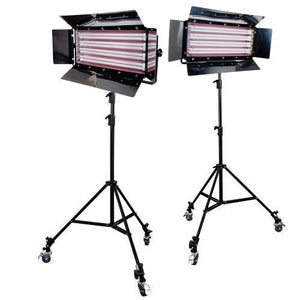Photography Photo Video Studio 2200W Digital Light Fluorescent 4-Bank Barndoor Light Panel Kit with 6pcs Caster Wheels, AGG1214