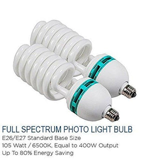 2pcs 105 Watt 6500K Photography Studio Light Bulb, Compact Fluorescent Lamp Pure White Daylight Balanced Studio Light Bulb, AGG121