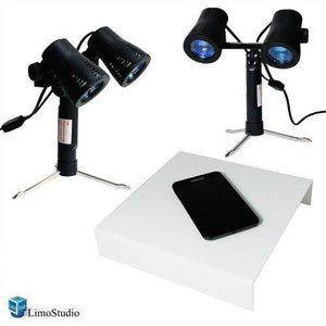 Photography Table top White shooting table and Double Head Photo Studio Quality High Output Photo Table Top Lights with Stand, AGG1234