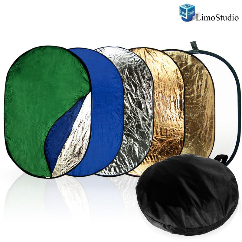 7-in-1 24 x 36 Inch Photo Lighting Reflector, Collapsible Disc Reflector, Video Lighting Modifier Studo Photography Reflector Disc Panel, AGG1254