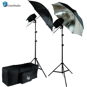 Photography Studio Flash Strobe Light Umbrella Lighting Kit - (2) 180W Flash Strobe Light, (2) Black / Silver Umbrella Lighting Reflector, (1) Exclusive Premium Carry Bag, AGG1275