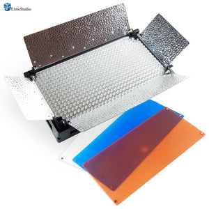 Photo Video Studio Dimmable 500 LED Photo Video Barndoor Light Panel with 3 Color Filters, AGG1285