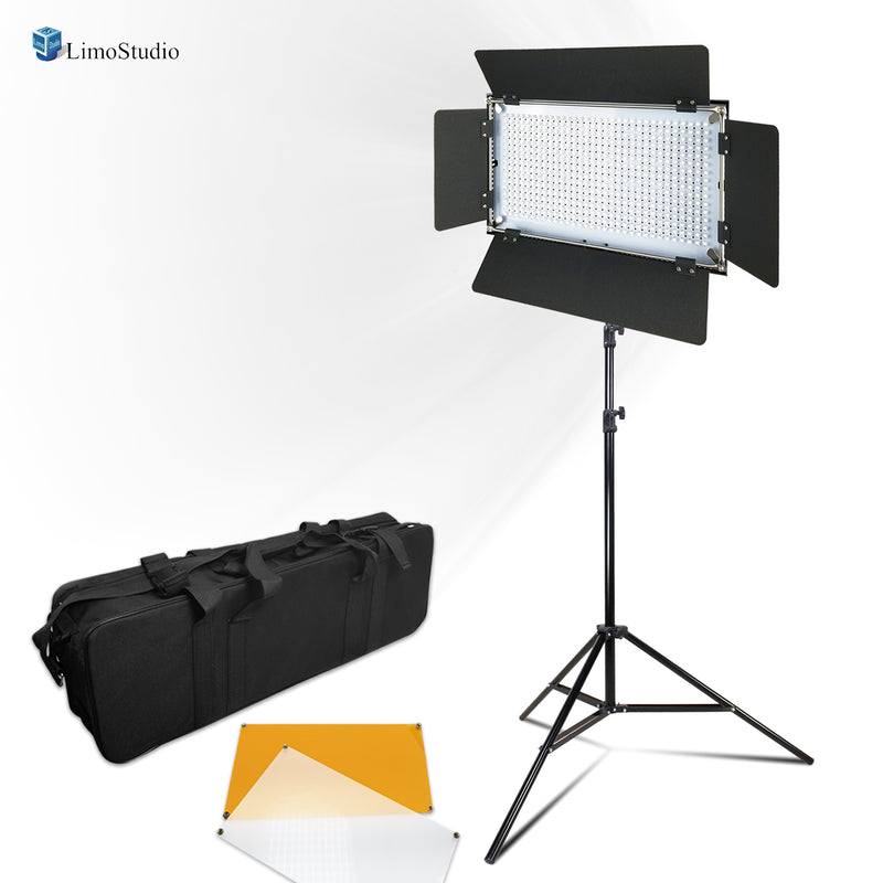 LimoStudio Photo Video Studio 500 LED Barn Door Continuous Lighting Panel Kit, Dimmable 500 LED Photo Video Barndoor Light, AGG1286_V2