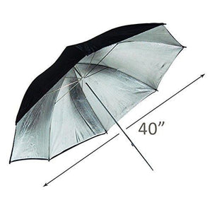 "40"" Large Double Layer Black and Silver Photo Studio Light Reflector Umbrella Camera, AGG128"