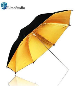 "LimoStudio 33"" Black & Gold Black/Gold Photo Studio Umbrella Photo Video Umbrella Reflector, SRE1139"