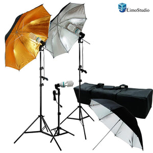 600W Photo Video and Portrait Studio Umbrella Kit With Three 45 Watt, 6500K Daylight Balanced CFL bulbs, Gold/Black & Silver/Black Reflective Umbrellas, Stands, and Carrying Case, AGG1295