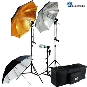 600W Photo Video and Portrait Studio Umbrella Lighting Kit With three 45 Watt, 6500K Day Light Balanced CFL bulbs, Gold/Black/Silver Reflective Umbrellas, Stands and Carry Bag, AGG1296