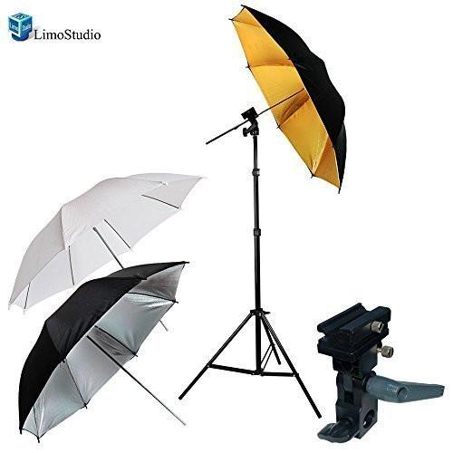 Portable Hot Shoe Flash Umbrella Stand Kit for Canon 430EX II, 580EX II, 550EX; NIKON SB-600, SB-27, SB-28, SB-80DX, SB-50DX; NISSIN DI622, DI866, DI466; VIVITAR 285HV, DF383, AGG1297