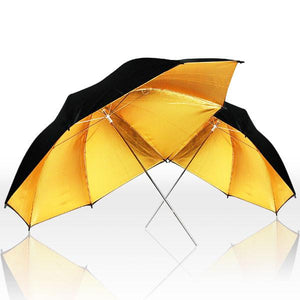 "33"" Black & Gold Umbrella Double Light Lighting Kit - Black/Gold Reflective Umbrella, White Reflective Umbrella, 45W CFL Daylight Bulb, Exclusive Premium Carry Bag, AGG1298"
