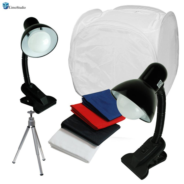 "Table Top Photo Box, Lighting Soft Box Photography Lighting 20"" Tent Kit with Rotatable Tripod Stand, 2 LED Light Stands, AGG1305"