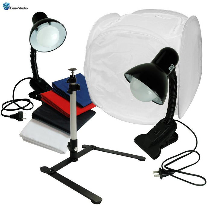 "Table Top Photo Box, Lighting Soft Box Photography Lighting 24"" Tent Kit with Rotatable Tripod Stand, 2 LED Light Stands, AGG1306"