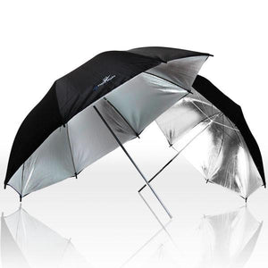 Photography Video Studio Umbrella Lighting Kit - 2x White Umbrella Lighting, 2x Black/Silver Umbrella Lighting, 45W Daylight Bulb Included, AGG1308