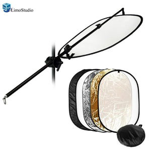 "Photography Video Studio Super Clamp for Boom and Reflector Arm and Double-Reflector Holding Slope-Bar w/ 24""x36"" 5-in-1 Multi Disc Lighting Reflector, AGG1315"