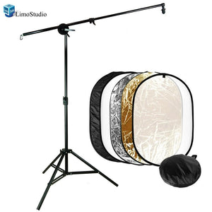 Photography Video Studio Super Clamp for Boom and Reflector Arm and Double-Reflector Holding Slope-Bar with Tall Studio Quality Light Stand, AGG1316