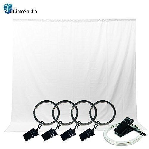 Photo Video Photography Studio 5x10ft White Muslin Backdrop Background Screen with 5x Backdrop Holder Kit, AGG1336