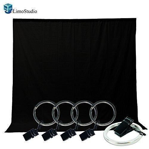 LimoStudio Photo Video Studio 5x10 ft. Black Muslin Backdrop Background Screen with Backdrop Holder Kit, AGG1337