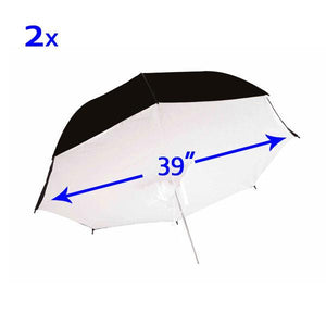 2 White and Black Double Layered Umbrella Reflector Diffuser Brolly Box, AGG133