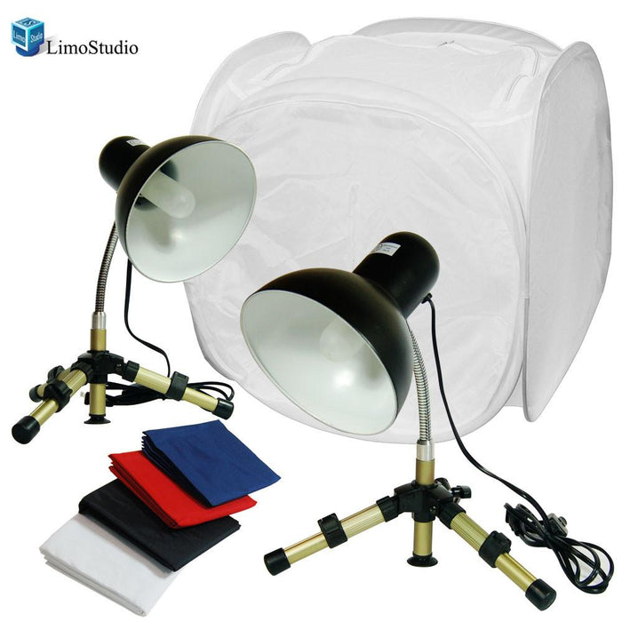 "Table Top Photo Studio Kit- 24"" Photo Tent, 500W Double Lighting Kit, AGG1377"