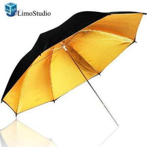 "53"" Wide 2 Layer Black and Gold Umbrella Reflector Diffuser Photo Video Umbrella Reflector, AGG137"