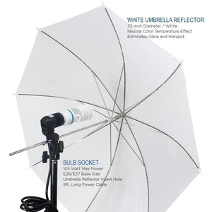 "Photo Video Studio 33"" White, Gold, and Silver Umbrella Reflector Diffuser and Boom Arm Light Stands Kit with Light Stands and Daylight Premium Bulbs and Carry Bag, AGG1392V2"