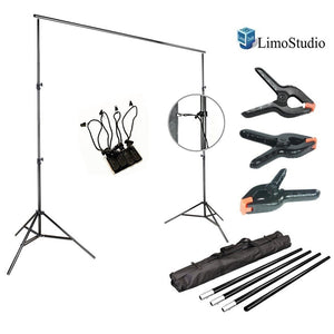 Photo Video Studio 10Ft Adjustable Muslin Background Backdrop Support System Stand, 4pcs Backdrop Holders, 3pcs Backdrop Support Spring Clamp with Bag, AGG1394V2
