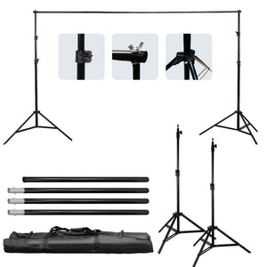 Photo Video Studio 10Ft Adjustable Muslin Background Backdrop Support System Stand, 5x Backdrop Helper Holders Kit with Bag, AGG1395