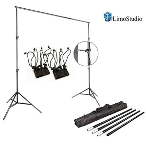 Photo Video Studio 10Ft Adjustable Muslin Background Backdrop Support System Stand, [2set] 4x Muslin Photo Backdrop Holder Clamp Support Clips Kit with Bag, AGG1396V2