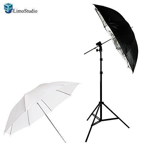 "Photo Video Photography Studio Flash Hot Shoe Mount Adapter Trigger Kit with 33"" White and Black/Silver Lighting Diffuser Reflector Umbrella and Light Stand, AGG1405"