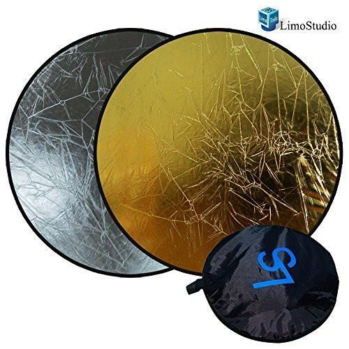 "Photo Video Studio 43"" Silver/Gold Collapsible Disc Reflector For Indoors or Outdoors Photography and Video, AGG1412"