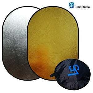"Photo Video Studio 24""x36"" Silver/Gold Collapsible Disc Reflector For Indoors or Outdoors Photography and Video, AGG1413"