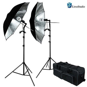 Photo Studio 18W x 2 Double LED Umbrella Lighting Kits - Black-Silver Premium Umbrella Lighting Reflector for Photography Studio, AGG1420
