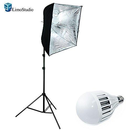 Photo Studio 18W LED Lighting Kit - Black / Silver Photo Umbrella Reflector - Flash Hot shoe Mount Light Head, AGG1421