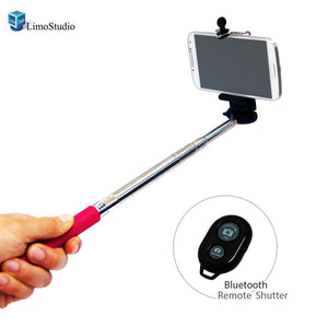 Selfie Stick Portrait Camera Monopod Extendable Cell-phone Tripod with Bluetooth Remote Shutter, AGG1429