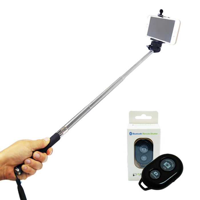 Selfie Stick Portrait Camera Monopod Extendable Cell-phone Tripod with Bluetooth Remote Shutter, AGG1431