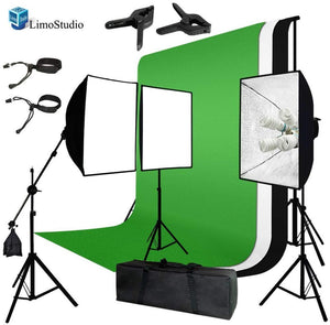LimoStudio Photo Video Studio Four Light Head Continuous Lighting Softbox Boom Stand Kit with White Black Green Muslin Backdrop, SRE1145
