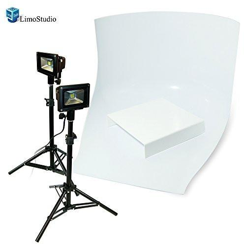 Table Top Photo Studio LED Lighting Kit with Seamless White Backgrounds and Small Products Display Table , AGG1470V2