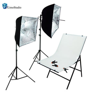 Photography Studio Foldable White Photo Shooting Table with 800-900 Lumens LED Lighting Umbrella Reflector Kit, Backdrop Clamps, AGG1476