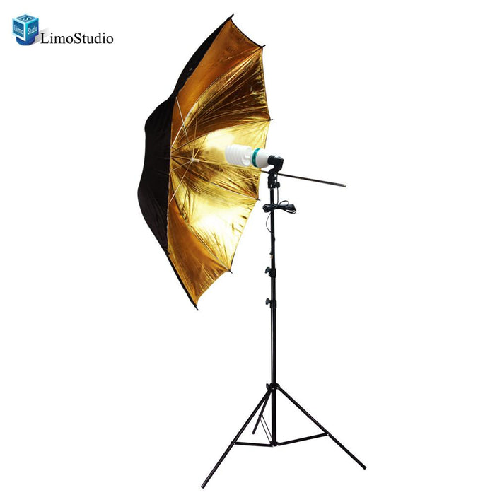 "Photography Photo Studio 52"" Wide 2 Layer Black and Gold Reflector Umbrella Continuous Lighting Kit with Perfect daylight bulb, AGG1485"