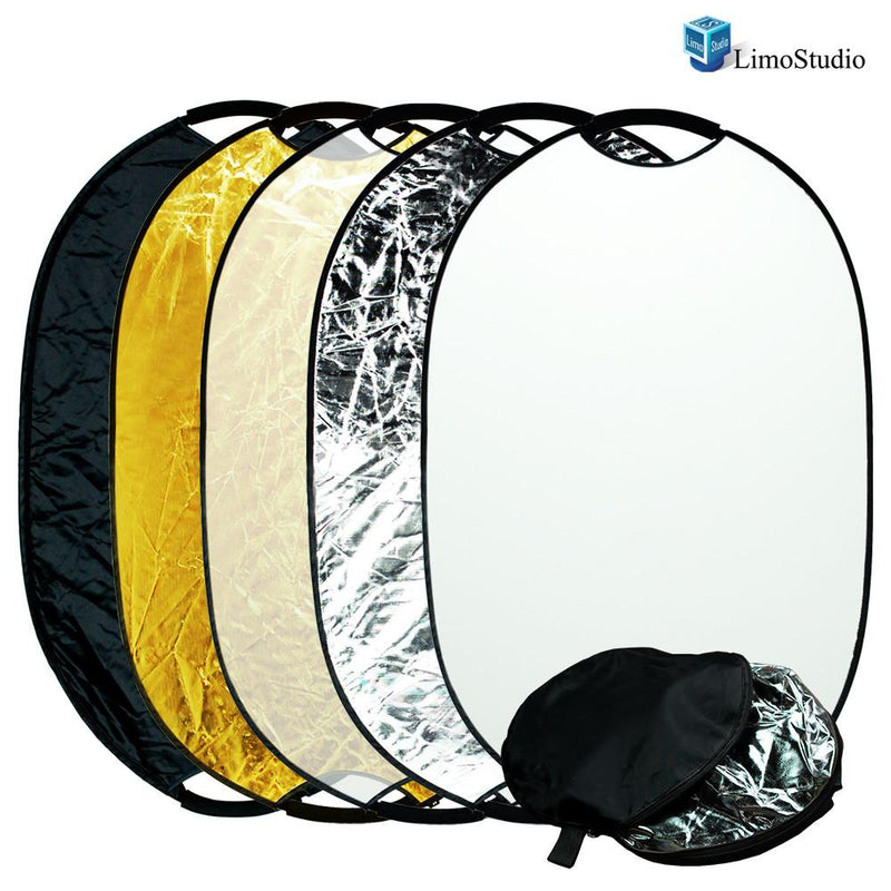 "Photography Photo Studio 24"" x 36"" New Handheld 5-in-1 Collapsible Lighting Reflector Oval Panel Board Disc, AGG1488"
