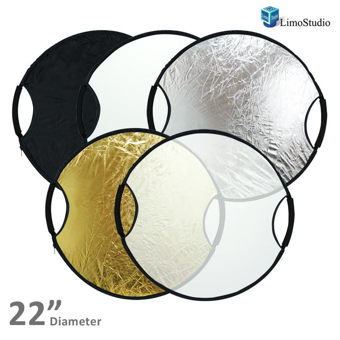 "Photography Photo Studio 22"" New Handheld 5-in-1 Collapsible Lighting Reflector Board Disc, AGG1489"