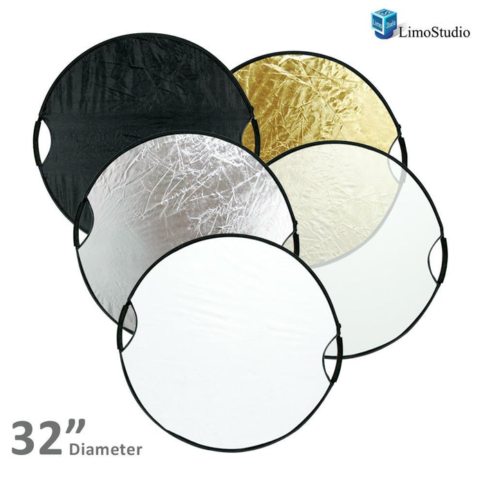 "Photography Photo Studio 32"" New Handheld 5-in-1 Collapsible Lighting Reflector Board Disc, AGG1490"