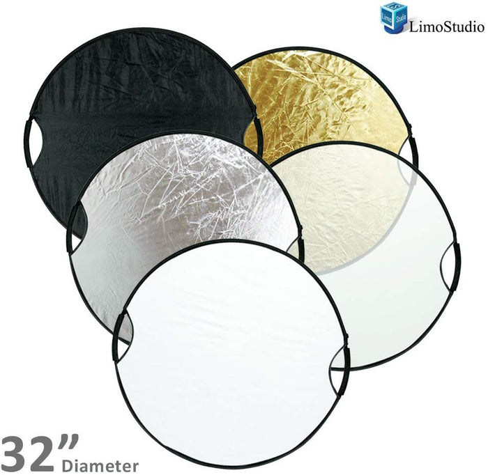 "LimoStudio Photography Photo Studio 32"" New Handheld 5-in-1 Collapsible Lighting Reflector Board Disc, SRE1101"